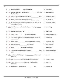 Indefinite Pronouns Matching Exam