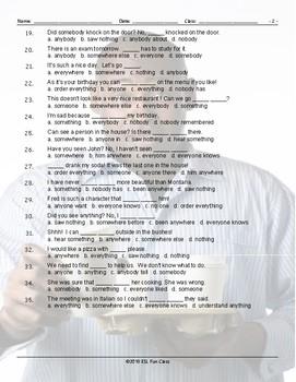 Indefinite Pronouns Multiple Choice Worksheet
