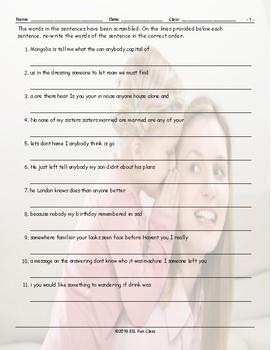 Indefinite Pronouns Scrambled Sentences Worksheet