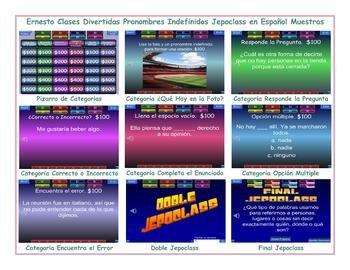 Indefinite Pronouns Spanish Jepoclass PowerPoint Game