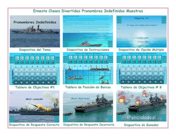 Indefinite Pronouns Spanish PowerPoint Battleship Game-An Original by Ernesto