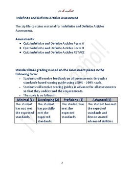 Indefinite and Definite Articles Teaching Assessments