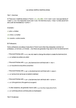 Indefinite articles - French
