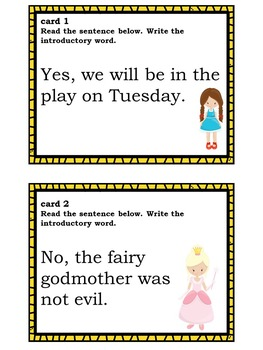 Comma Usage: Introductory Words Fairytale-Themed Task Cards