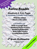 Identifying Ratios,Writing Ratios, Ratio Tables, Scavenger Hunt, Ratio Notes