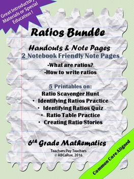 Identifying Ratios,Writing Ratios, Ratio Tables, Scavenger