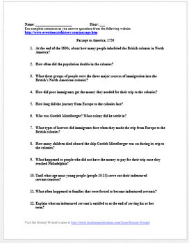Indentured Servitude and Immigration in Colonial America Worksheet