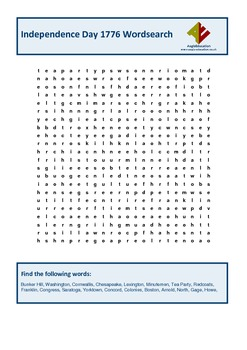 Independence Day Wordsearch 1776