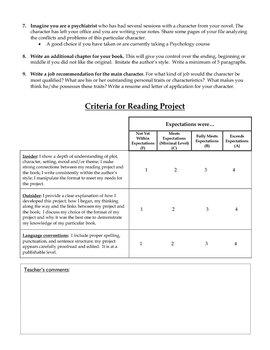 Independant Novel Reading Project