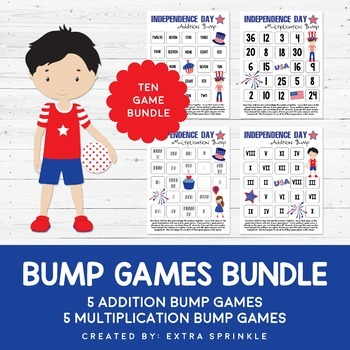 Independence Day Addition & Multiplication Bump Games Bundle