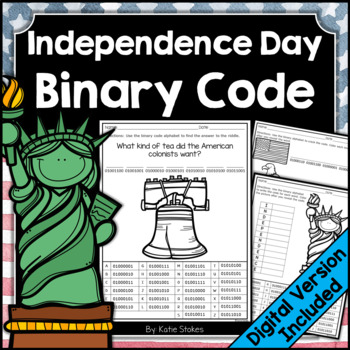 Independence Day Binary Code STEM Activities (4th of July)