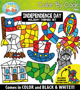 Independence Day Color By Code Shapes Clipart {Zip-A-Dee-Doo-Dah Designs}