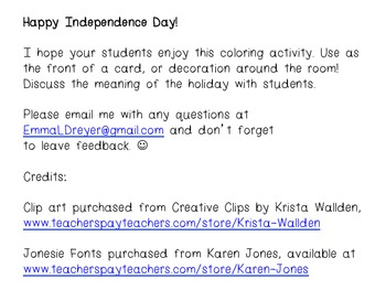 Independence Day Coloring Activity