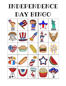 Independence Day Bingo Custom Printables