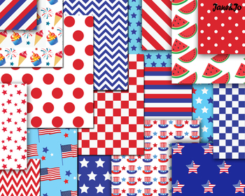 Independence Day Digital Papers fourth of july background 4th of July paper USA
