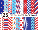 Independence Day Digital Papers fourth of july background
