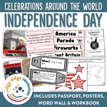 Independence Day Display Bundle Posters, Word Wall, Student Workbook