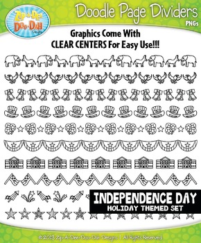 Independence Day Doodle Page Divider Clipart Set — Includes 10 Graphics!