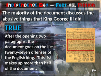 Independence Day Fact vs. Fiction: 20-slide 4th of July PowerPoint with handouts