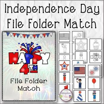 Independence Day File Folder Match
