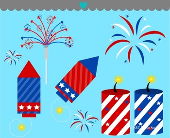 Independence Day fireworks clipart commercial use