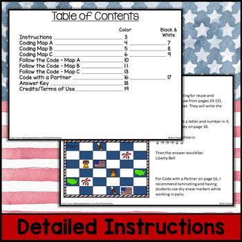 Independence Day Follow the Code (Coding Unplugged) (4th of July)