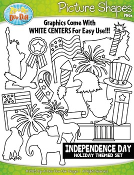 Independence Day Picture Shapes Clipart {Zip-A-Dee-Doo-Dah Designs}
