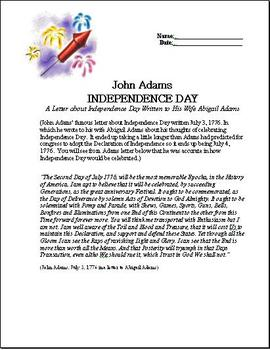 Independence Day July 4, 1776 Letter By John Adams with Questions