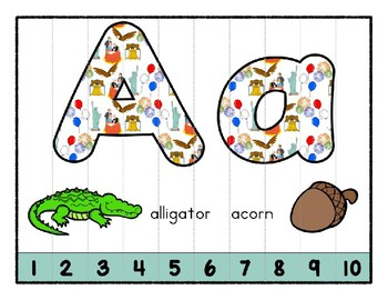 Independence Day July 4th ~ Teaching by the Letter Holiday Strip Number Puzzles