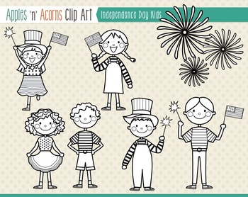 Independence Day Kids Clip Art - color and outlines