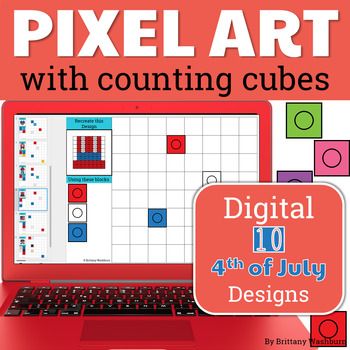 Independence Day Pixel Art with Counting Cubes