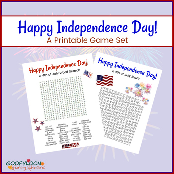 Independence Day Printable Game Set Word Search And Maze Tpt