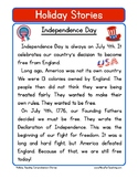 Independence Day Fourth of July Reading Comprehension Worksheet