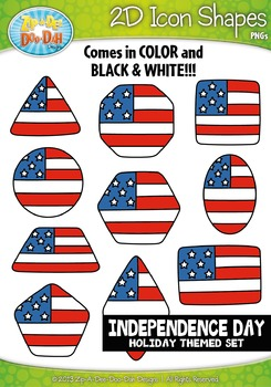 Independence Day Themed 2D Icon Shapes Clipart Set — Inclu
