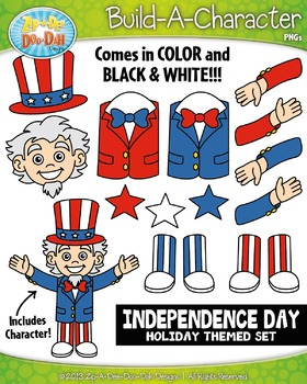 Independence Day Themed Build-A-Character Clipart Set — In