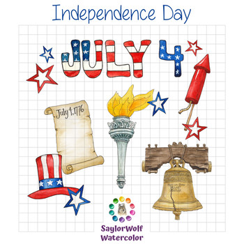 Independence Day - USA Fourth of July Watercolor Clipart