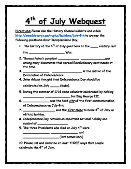 Fourth of July Day WebQuest
