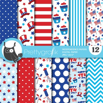 Independence day digital paper, commercial use, scrapbook papers - PS719