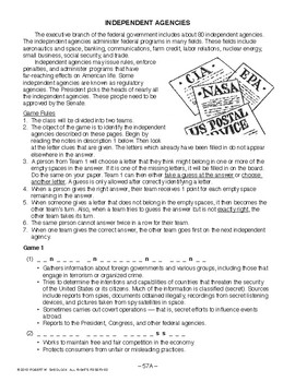 Independent Agencies, AMERICAN GOVERNMENT LESSON 57 of 105, Exciting Class Game