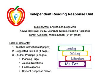"Independent ""Any Novel"" Reading Response Plan with Journal Questions"