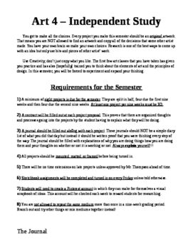 Independent Art Student Paperwork