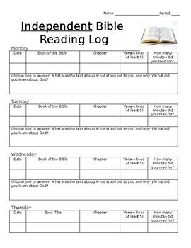 Independent Bible Reading Log