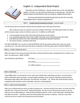 Independent Book Project- Awesome! Brochure, Read, Poster, Student Evaluation