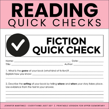 Reading Response Quick Check Assessments