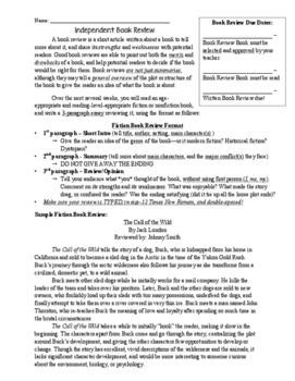 Independent Book Review Writing Assignment with Checklist