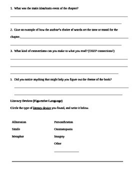 Independent Book Study Comprehension Check Page