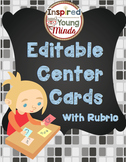 Independent Center Task Completion Cards - Editable