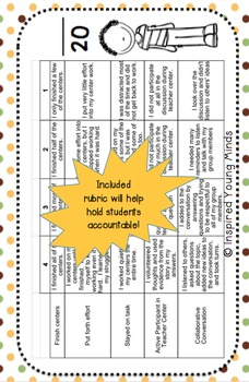 Independent Center Task Completion Cards - Editable
