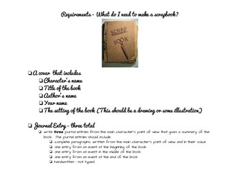 Independent Character Study Scrapbook Project