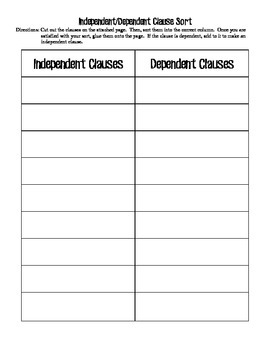 Independent/Dependent Clause Activity